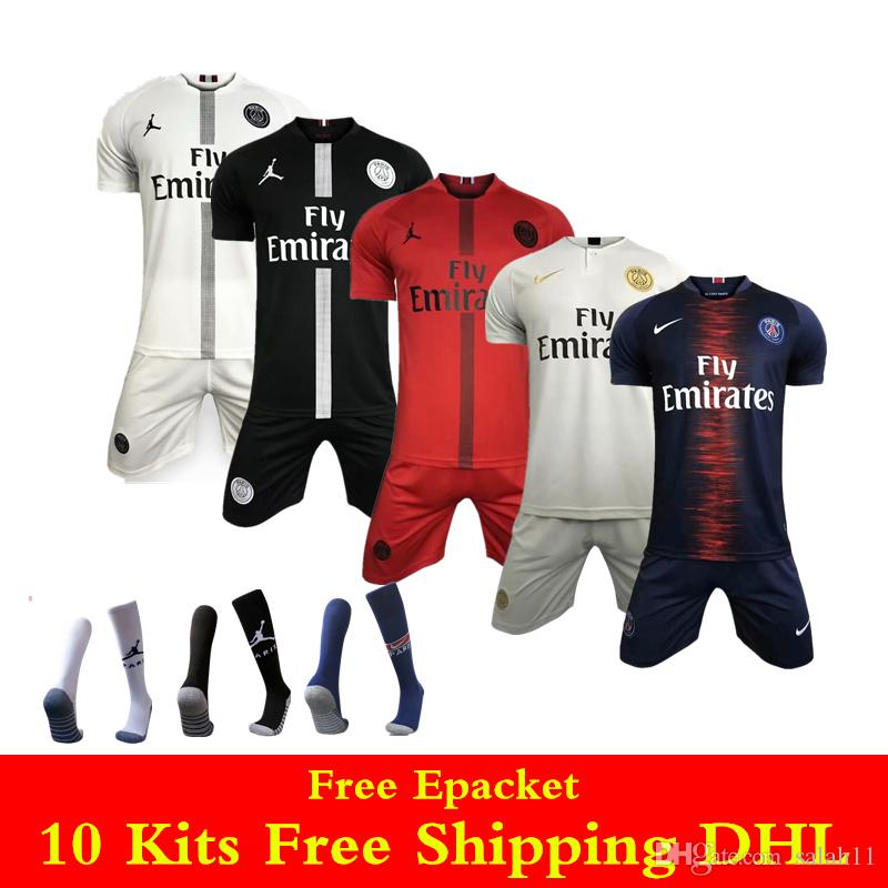 best website 33dac 7fbd1 18 19 Champions league Black white PSG jersey MBAPPE soccer jerseys sets  2019 Paris Jordom home away VERRATTI KIMPEMBE CAVANI Football kits
