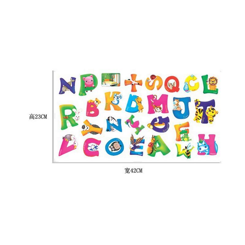 42x23 CM A-Z Alfabeto Animais Letras de Decoração Para Casa Inglês Mural de Vinil Adesivos de Parede Decalques Do Berçário Crianças Decoração do Quarto Para A Parede