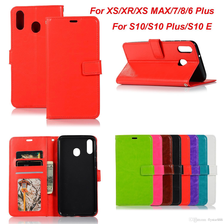 size 40 528ca c3fa4 Retro Leather Wallet Case For Samsung Galaxy S10 Plus Note9 J6 J4 A6 Plus  ,Nokia 7 Plus 6 2019 Crazy Horse Flip Cover ID Slot Case