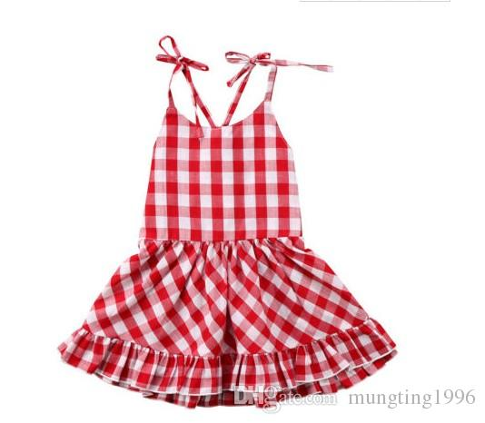 feec2ad6469 2019 Ins Hot Sales Baby Girls Summer Red And White Plaid Dress Children  Boutique 100%cotton Boutique Dresses From Mungting1996