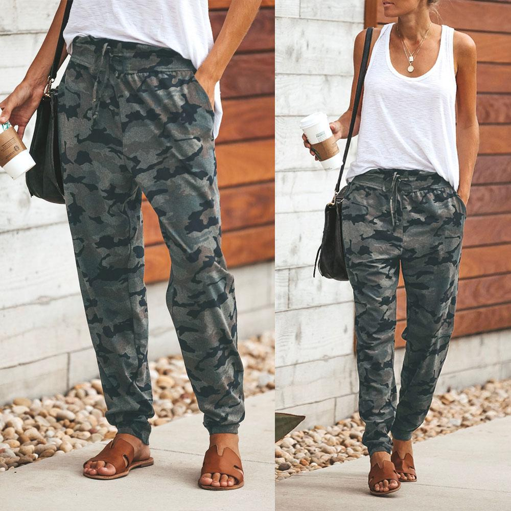 Hot Sell New Fashion Womens Ladies Camo Camouflage Harem Pants Palazzo Leggings Ladies Yoga Cargo Trousers