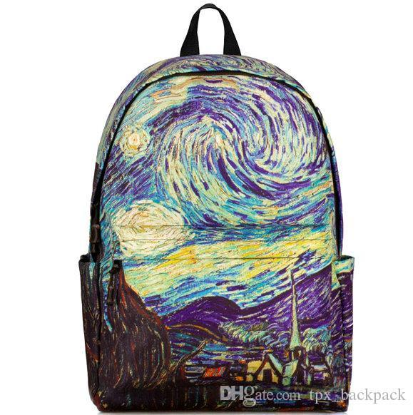 e90dcdc1d1b97 Satın Al Yıldızlı Gece Sırt Çantası Vincent Van Gogh Günü Paketi Okul  Çantası Boya Yıldız Gökyüzü Packsack Baskı Sırt Çantası Spor Schoolbag Açık  Sırt ...
