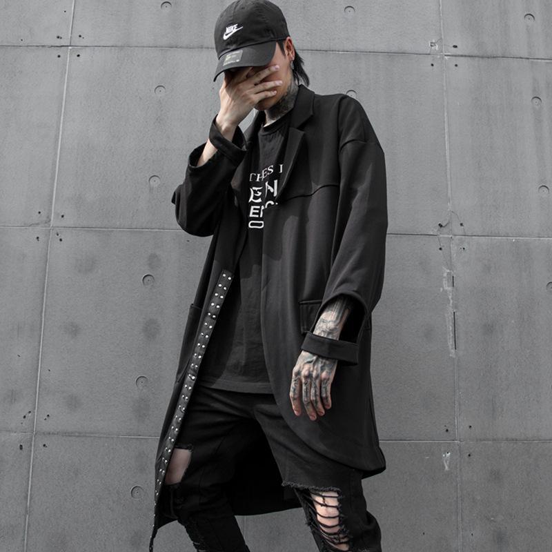 Hommes Lâche Casual Longue Veste Manteau Asymétrique Trench Coat Homme Streetwear Hip Hop Punk Gothique Cardigan Survêtement Stade