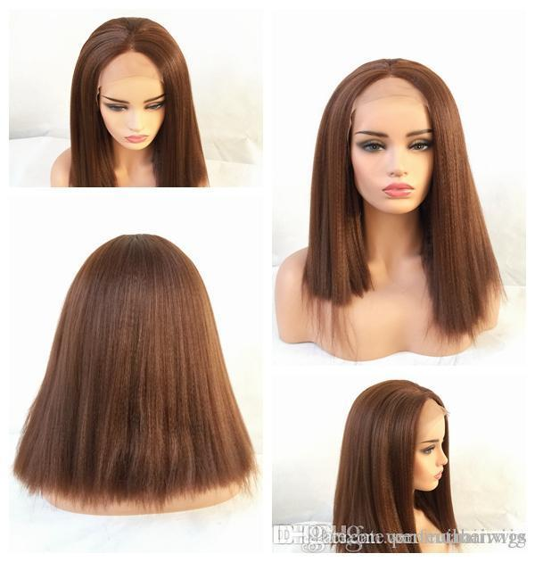 New Sexy Synthetic Wigs 6  Brown Kinky Straight Lace Front Wigs For Black  Wowen Heat Resistant Glueless Synthetic Lace Wigs With Baby Hair Janet Wigs  Wig ... c12a1a906c69