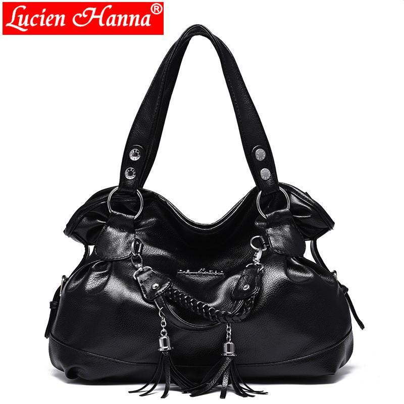 2019 Fashion New Large Capacity Shoulder Bag Women Handbags Tassel Female  Casual Tote Bag Soft PU Leather Handbag Ladies Hobos Bolsa Italian Leather  ... 6e7a004832441