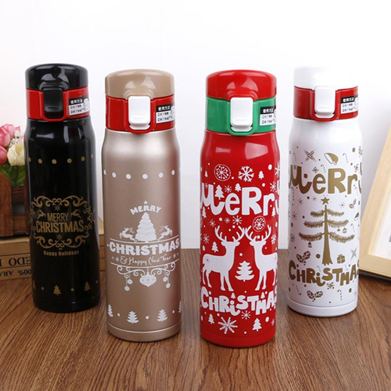 500ML Vacuum Water Bottle Xmas Gift For Lovers Stainless Steel Vacuum  thermos Flask Coffee Tea Bottle