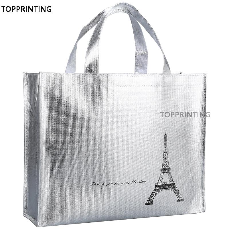 Metallic Shiny Silver Logo Tote Bags in Shopping Promotional Reusable Waterproof Shopper Non Woven Bag 500pcs/lot For New Stores