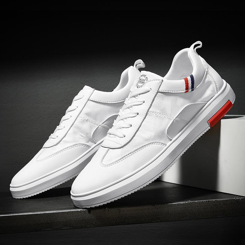 ec49203d6fb41 Satın Al SUROM Erkek Ayakkabı Rahat Klasik Beyaz Örgü Nefes Adam Ayakkabı  Deri Hakiki Siyah Sneakers Erkekler Hafif Zapatillas Hombre, $40.95 |  DHgate.