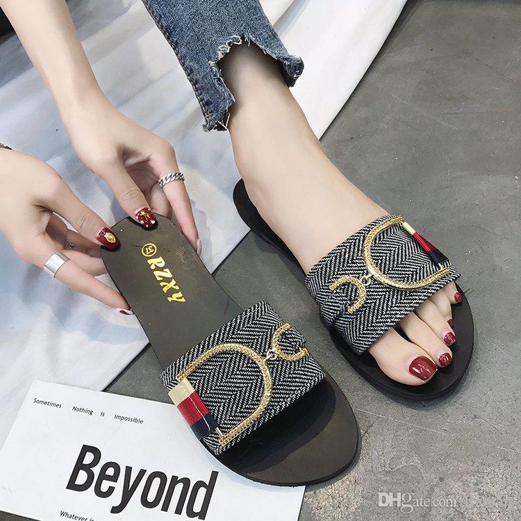 28432934d398 Women Designer Shoes Luxury Slide Summer Slippers Fashion Wide Flat  Slippery Thick Sandals Metal Buckle Stripes Flip Flops Slippers Q 162  Slipper Dress ...