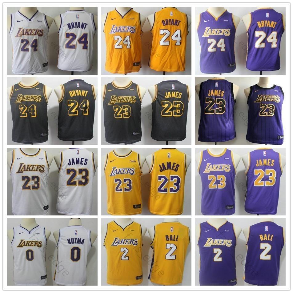 2019 Men Youth Kids Lakers  23 LeBron James Jersey 2 Lonzo Ball 0 ... 12c3b8c34