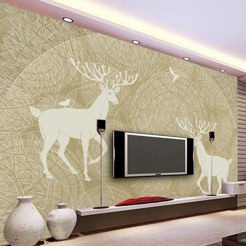 Custom Mural Wallpaper Abstract Hand Painted Tree Forest Birds Deer Tv Backdrop Wall Decor Painting Modern Living Room Wallpaper