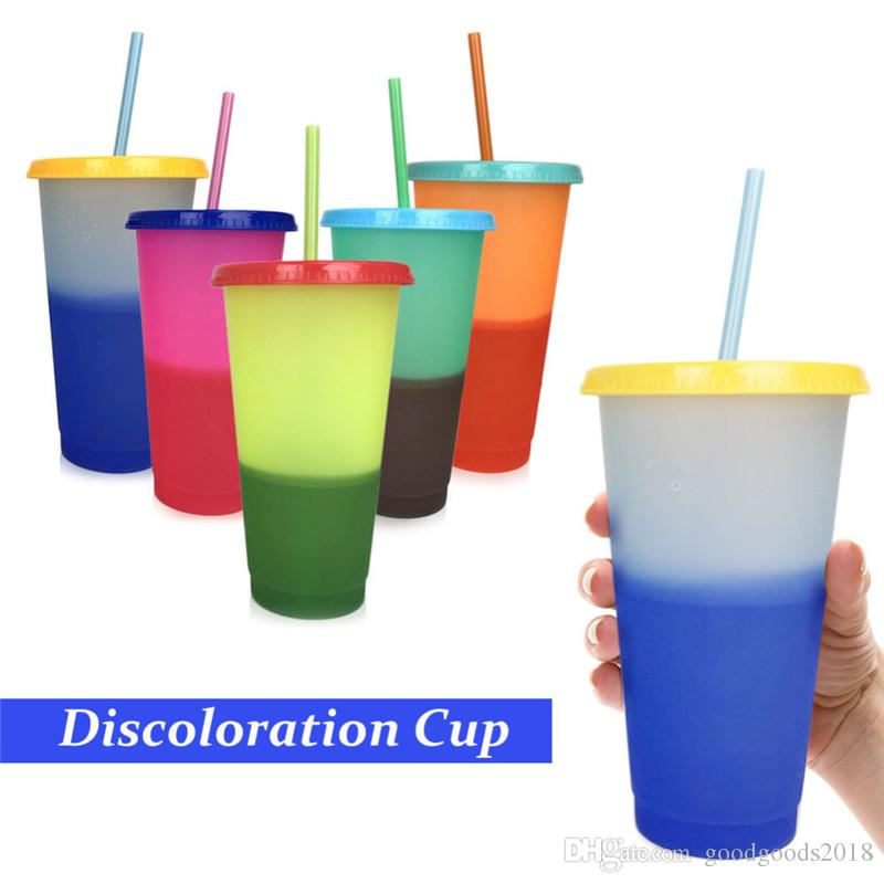 Plastic Temperature Change Color Cups Colorful Cold Water Color Changing Coffee Cup Mug Water Bottles With Straws Set ST554