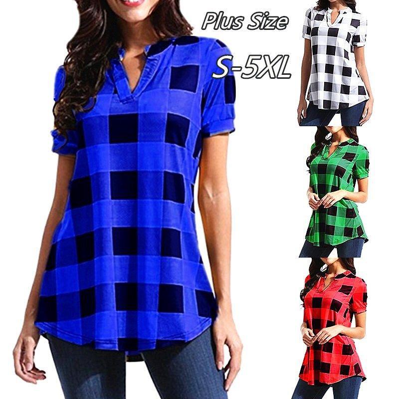 8185e830eccf 2019 Fashion Women Plaid T Shirt Plus Size 5xl Summer Short Sleeve T Shirt  Women Clothes Tops Casual Grid Ladies Shirts Blouse Top Tee From ...