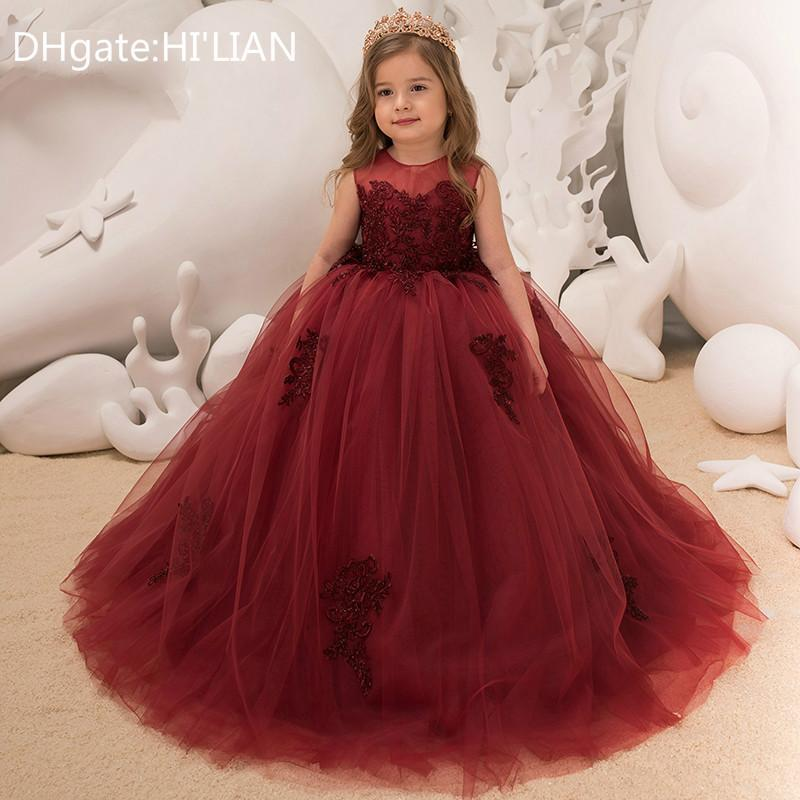 026f7f41106 2018 New First Communion Dresses For Girls Wine Red Long Girls Pageant Gowns  Vestidos Daminha Flower Girl Dresses For Weddings Black Dresses For Girls  Camo ...