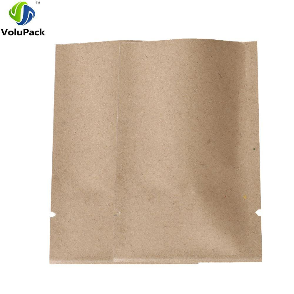 "6x9cm (2.25x3.5"") wholesale Thick flat metallic mylar paper bags coffee tea open top brown kraft paper bag storage"