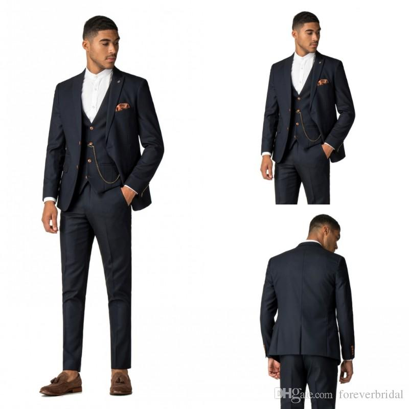 Custom Made Classic Appoinement Men Suits Three Pieces (Jacket+Pant+Vest) Two Buttons Peaked Lapel Male Wedding Suits For Sale
