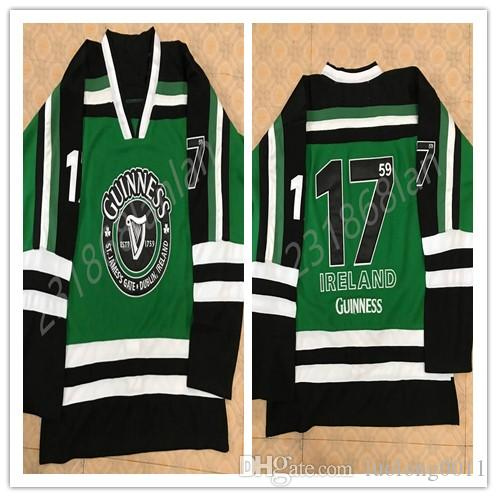 d6418d3b Green Black 17#Guinness St.James's Gate Durblin Ircland hockey jersey  Embroider stitched Customized Any Name And Number