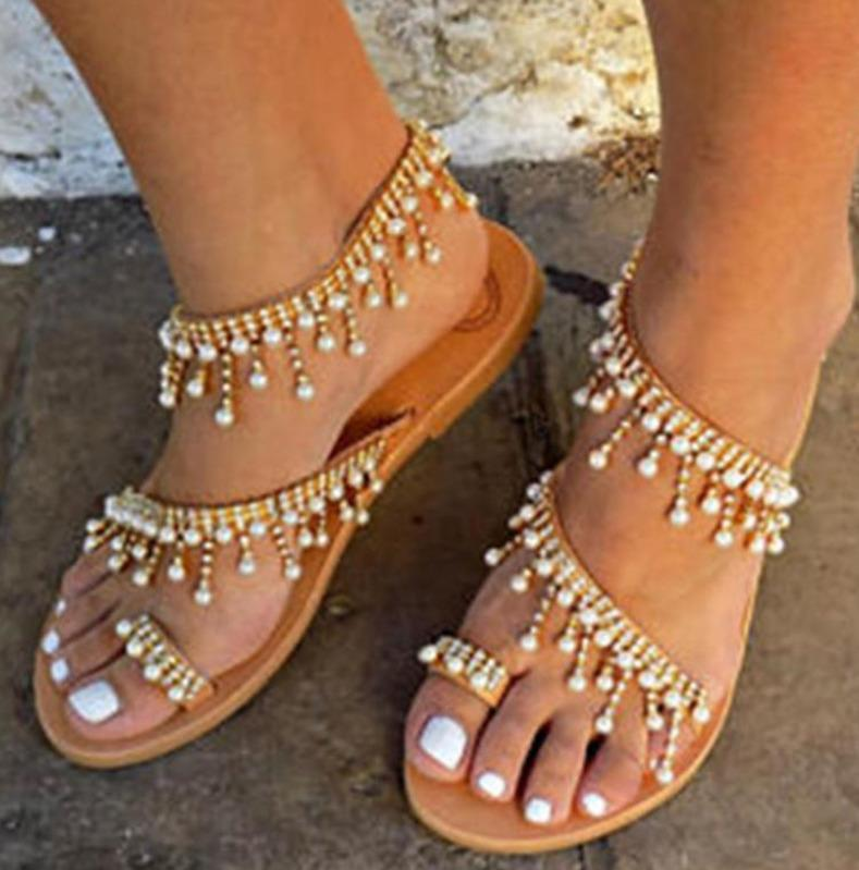 Femmes Mode Sandales Chaussures Plage Cuir En Vintage Bohimia Sandale Plate Perles Designer oeWBrCxd