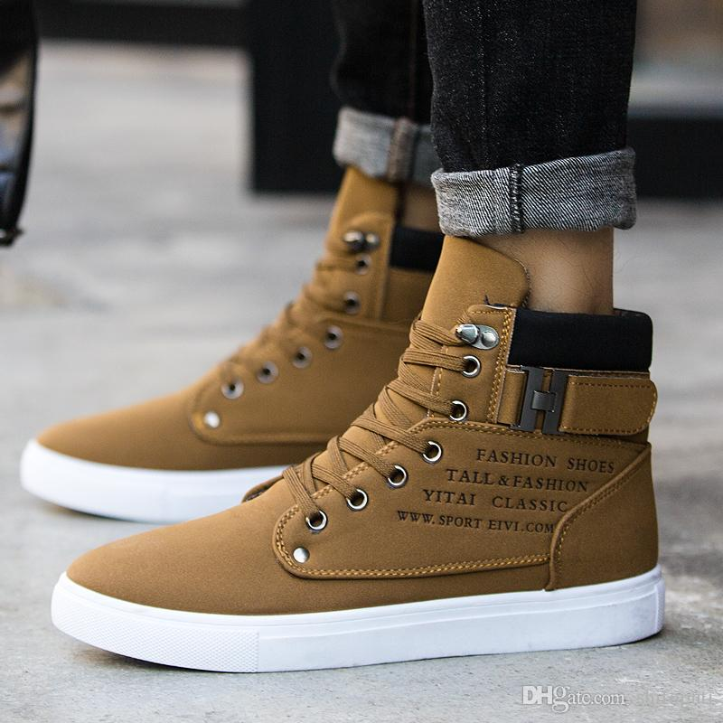 Hot 2018 Spring Autumn Lace Up Men S Canvas Shoes Big Size Man Buckle Casual  Ankle Boots Winter Fashion Leather Shoes Mens Flats Flat Shoes Yellow Shoes  ... 16480faada5c