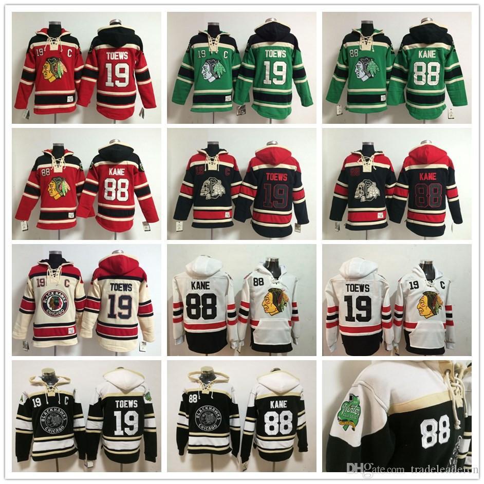 25b0552ca 2019 Chicago Blackhawks Hoodies  19 Jonathan Toews  88 Patrick Kane 2018 Winter  Classic Ice Hockey Hoody Sweatshirts Red Cream Black Skull Green From ...