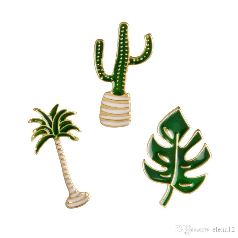 Lovely Badge Cactus pin Plant Potted Collar Shoe Lips Enamel Brooch Coconut Tree Cactus Leaves brooches Decorative Clothing Cartoon Pins