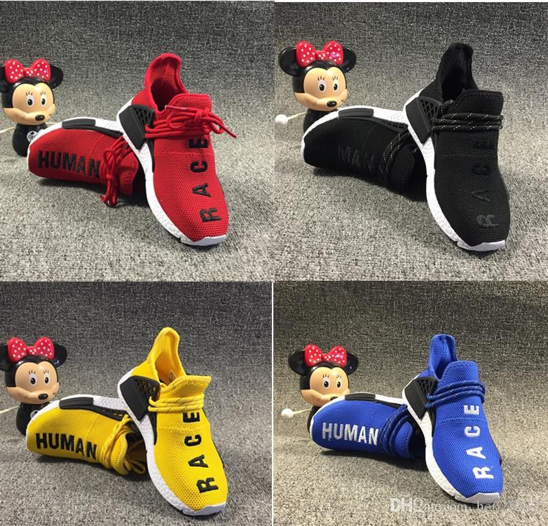 d3d483ed8f675d Acheter Pharrell Williams Infant Human Race Enfants Chaussures De Course  Enfants En Bas Âge Jaune Athlétique Sport Formateurs Enfants Garçons Filles  Baskets ...