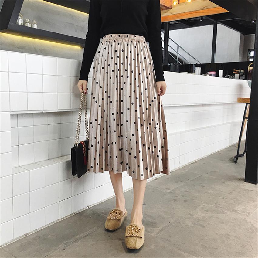 8ca3ca09d 2019 Nueva primavera verano Faldas Moda para mujer de terciopelo A-Line  Falda plisada Dot Gorgeous Mujer Casual cintura elástica Midi Faldas