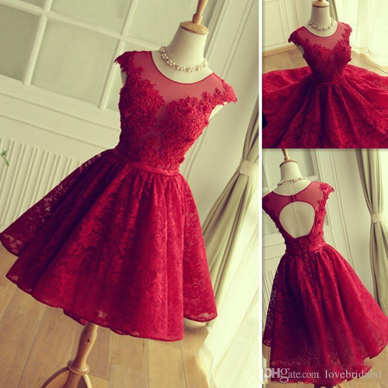 Sheer Neck Red short homecoming dresses With Lace Appliqued Short Sleeves Lace Cocktail Party Prom Dreses cheap