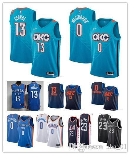 newest collection 93397 3bcac Mens Oklahoma Russell Westbrook Paul George okc Blake Griffin Lou Williams  Thunder Tobias Harris Luka Doncic 13 George Basketball Jerseys