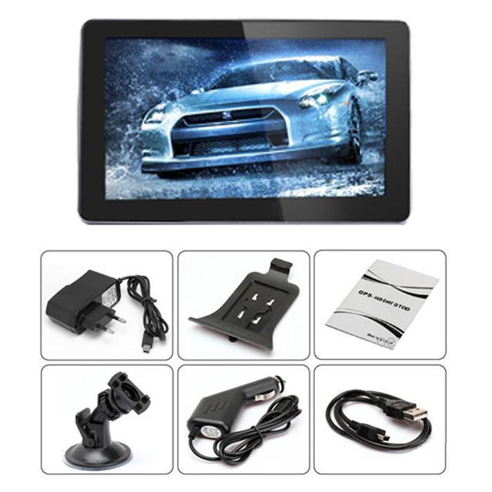 Navigatore GPS auto da 5 pollici GPS Bluetooth AV-IN FM CPU 800MHZ Mappe IGO Primo da 8 GB