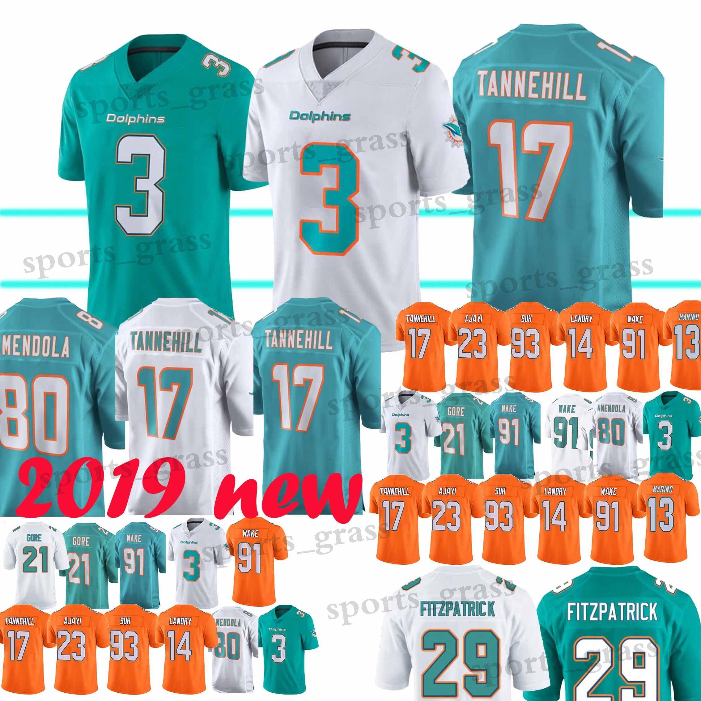 competitive price 02517 ce612 3 Josh Rosen Miami Jerseys Dolphins 29 Minkah Fitzpatrick 21 Frank Gore 80  Danny Amendola 91 Cameron Wake 13 Dan Marino Jerseys