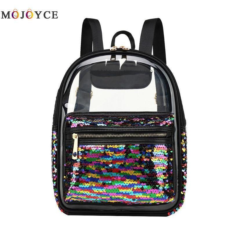 a502d54ff Women Clear Backpack Transparent Pvc Sequin Fashion Summer Cute Leisure  Zipper Shoulder Backpack Mochila Feminina