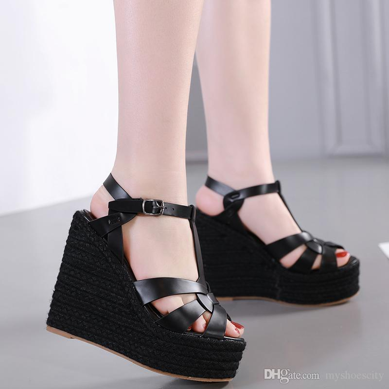 2019 New designer sandals ladies wedge sandals beige T strappy knitted straw woven platform shoes luxury women slides size 35 To 40