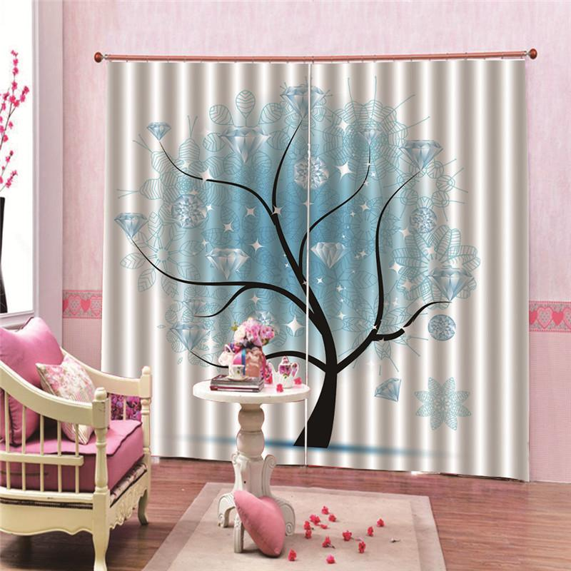 1 Pair tree STYLE 3D Printed Thermal Insulated Grommet Blackout Window Curtain Panel 24 Colors for living room blackout curtains