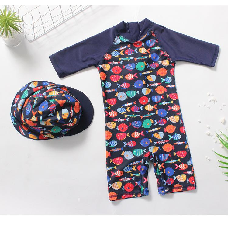 2019 kids swimwear Cartoons Fish Printed Boys designer swimsuit With Cap Korean Beach Sport one-pieces kids swimwear bathing suits Clothing