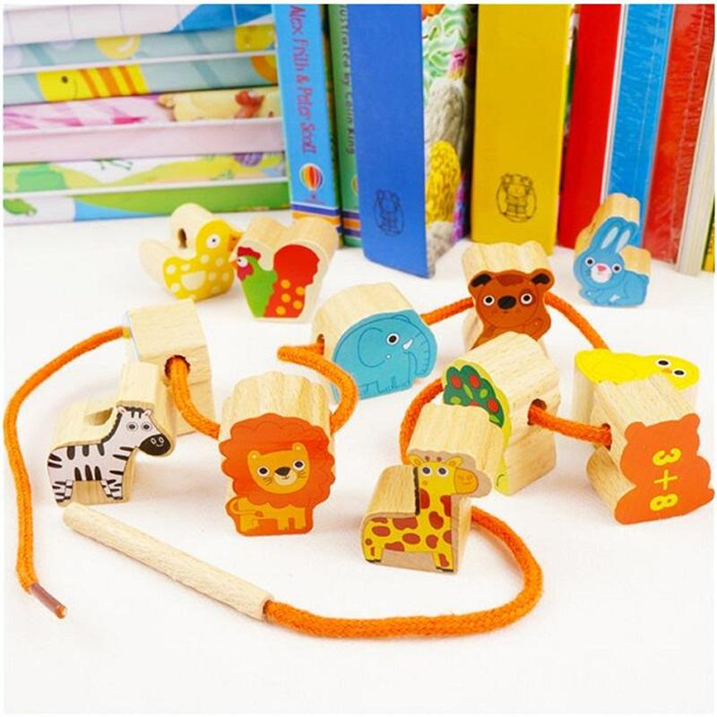 Bricks Toys 12PCS Wooden Big Bead Creature Building Block Unisex Double Side Beads with Number Educational Toys