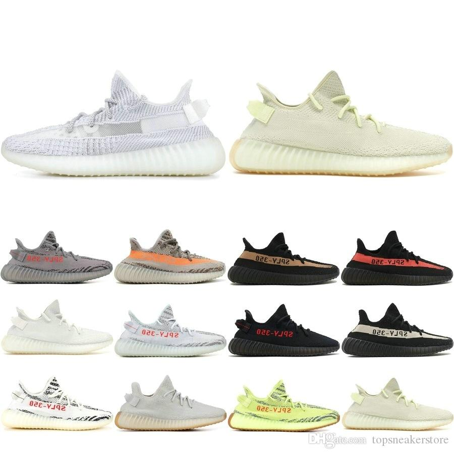 bb60b1623 2019 SPLY 350 V2 Sesame Yellow Zebra Butter Cream White Black With Box  Kanye West Running Shoes Designer Men Women Sneakers 5-13 Designer Shoes Men  Women ...