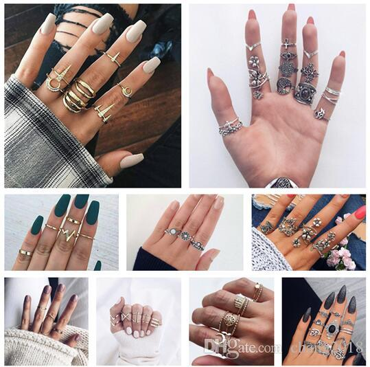 10 styles Boho Carving Flowers Leaves Water Drop Stars Crystals Gem Joint Ring Fashion Lady Party Silver Ring Set Combinations ALXY02