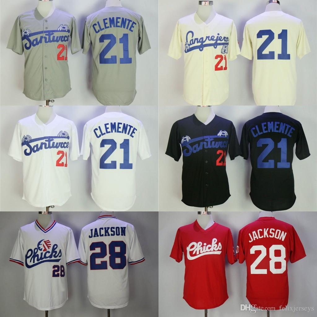 separation shoes 8a4e6 aaad6 Roberto CLEMENTE #21 Santurce Crabbers Puerto Rico Jersey Button Down  Memphis Chicks #28 Bo Jackson Movie Baseball Jersey