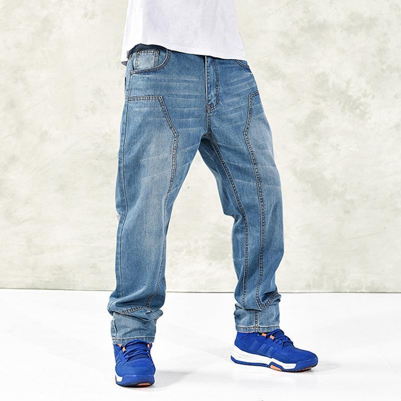 d9f0cc401c236 2019 Plus Size 20 56 Men s Blue Baggy Jeans Nice Cargo Denim Pants For Men  Hip Hop Designer Brand Jeans Trousers Big Clothes WS202 From Losangelesd,  ...