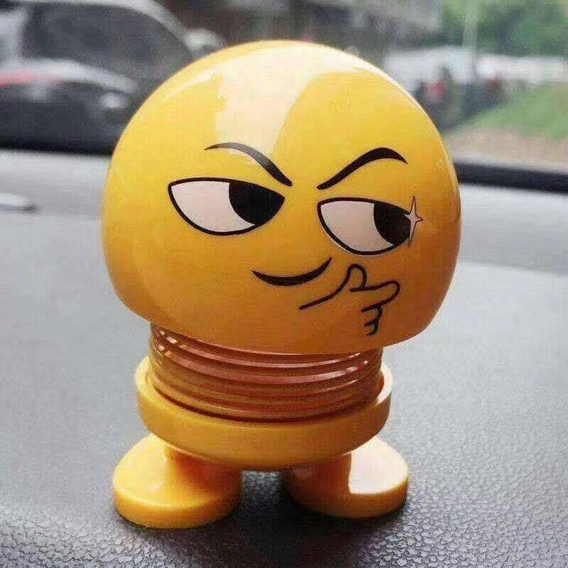 2019 New Emoji Car DecorationABS Funny Emoji Shaking Head Dolls Automobile  Dashboard Decoration Creative Smiley Cute Shy Expression
