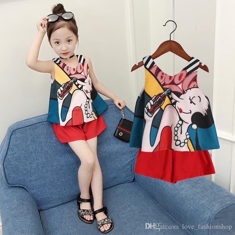 eed4d6da5 Conjuntos de niñas bebés de verano 2 unids coreano impreso gasa faldas  pantalones cortos Pantalones Conjuntos de ropa trajes de las niñas bebé ...