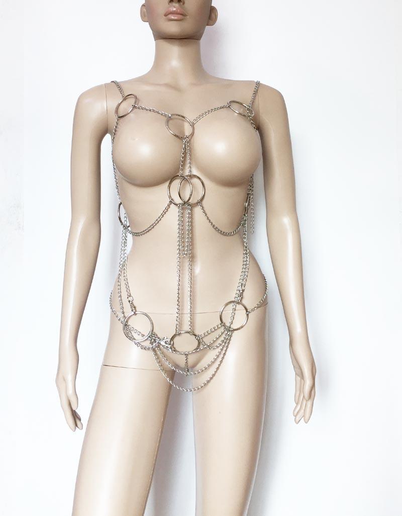 Seksi Metal Asmak Zincir ve Yüzükler Cupless Bodysuit Bikini Parti Vücut Koşum Metalik Vücut Zincir Püskül Fetiş Lingerie
