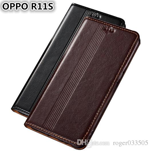 QX14 Genuine Leather Case For OPPO R11S Cover Magnetic Case For OPPO R11S Phone Case Fundas With Card Holder