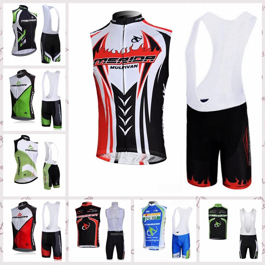 MERIDA team Cycling Sleeveless jersey Vest bib shorts sets ropa ciclismo bike wear Outdoor sports clothes summer mens clothing Q60669