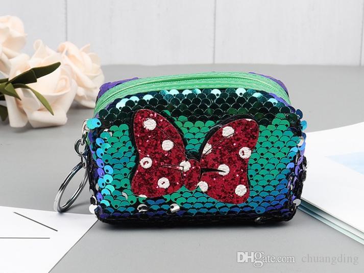 Paillettes CALDE Love Wallet bowknot borsa portamonete ciondolo borsa studentessa donna portamonete portamonete con cerniera