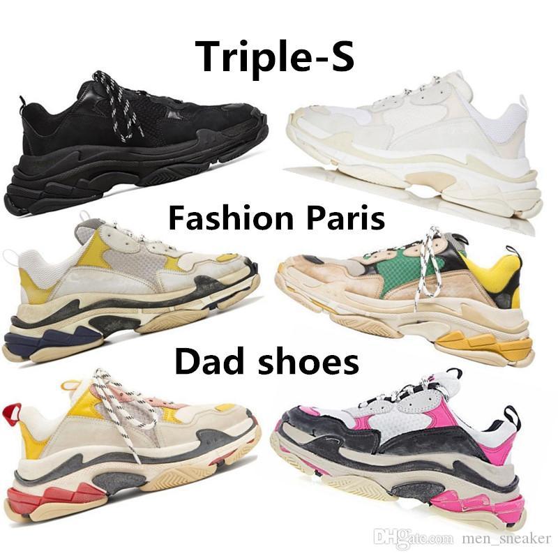 save off 793b2 0ca66 Compre Designer De Moda Paris 17fw Triplos S Sapatilhas Para Homens  Mulheres Preto Vermelho Branco Verde Casual Pai Sapatos De Tênis De Luxo  Aumentando ...