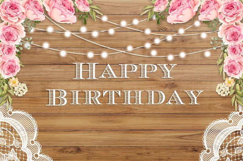 2019 Laeacco Happy Birthday Flowers Wooden Board Light Photography Backgrounds Customized Photographic Backdrops For Photo Studio From Paozhu