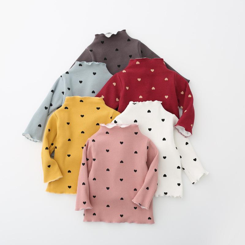 3d897ad29026b Acheter Nouveau Coton Automne Filles De Base Chemises D'hiver Col Roulé T  Shirt Pour 1 4 Ans Bébé Fille À Manches Longues Amour Coeur Vêtements De  $32.7 Du ...