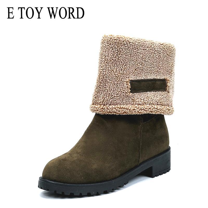 comprare on line b51df 0e931 E TOY WORD scarponi da neve invernali metà polpaccio stivali donna  Pelliccia calda antiscivolo casual scarpe tacco basso donna nero verde  botas mujer